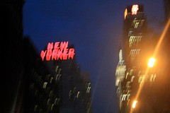 New Yorker hotel through a 3D windshield