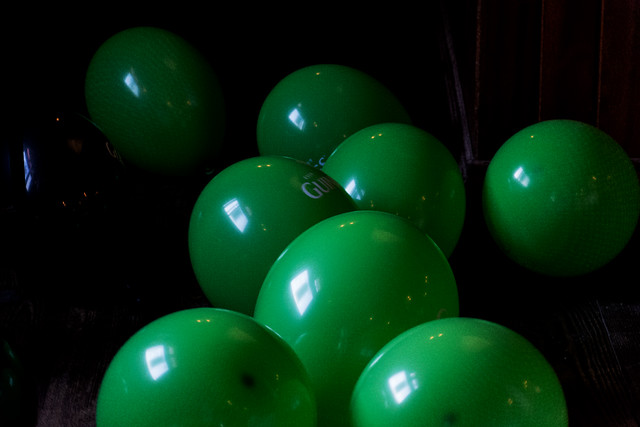 Green balloons for St Paddy's Day