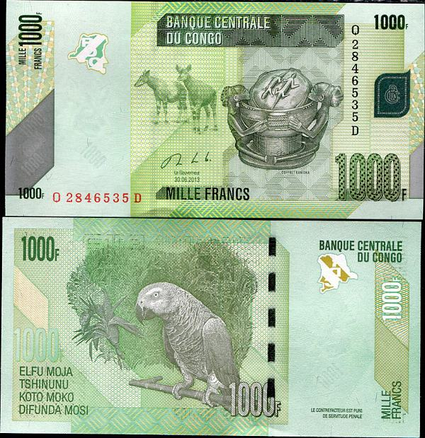 1000 Frankov Kongo Dem.Rep. 2013, Pick 101
