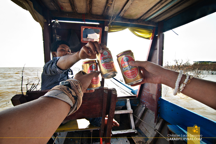 Beer Toast at Tonle Sap Lake in Siem Reap