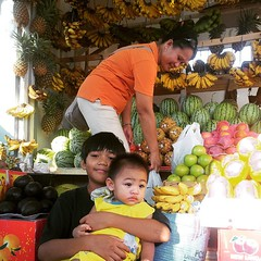 Kenji and #babyJJ pose for a pic at the Fruit Stand □□ We trust madam Rina to pick juicy watermelons for us□ #fruits