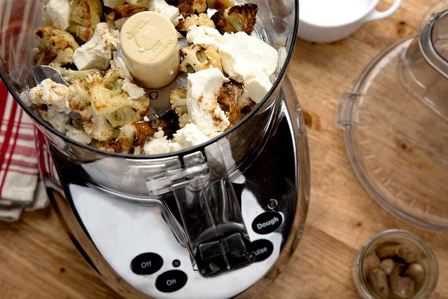 cauliflower and goat cheese in food processor