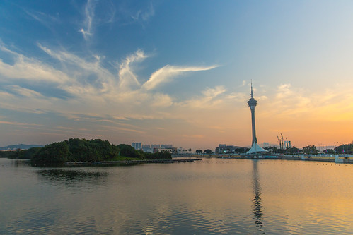 china city blue sunset sky panorama orange tower water skyline clouds canon eau casino macau markiii canon5dmarkiii 5dmarkiii