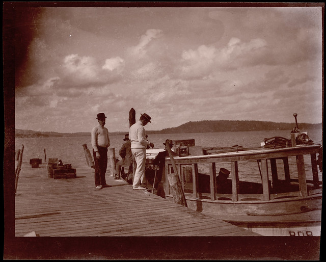 Ferry and unidentified people at jetty (film negative) – possibly Woy Woy, NSW. Fred Couche's launch 'Rob Roy'?, c. 1920s