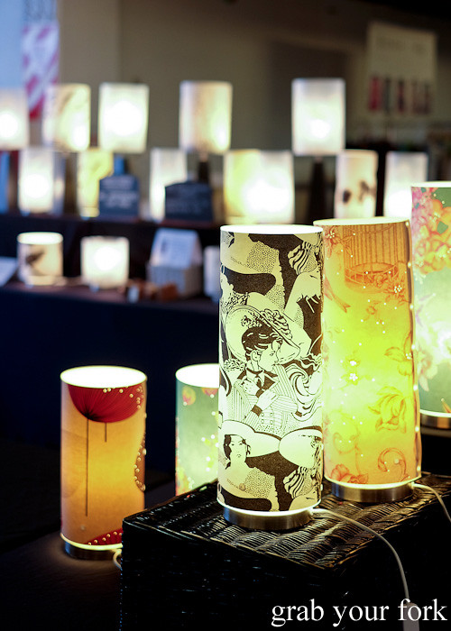 Printed lamp shades at Wellington Underground Market, Wellington