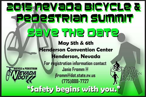 Save the date: 2015 Nevada Bicycle and Pedestrian Summit (May 5-6) #simasbicicletas @bikinglasvegas @nevadadot @cityofhenderson