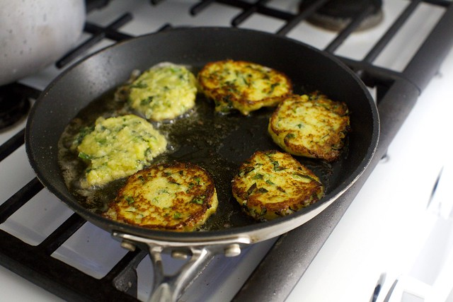 potato scallion and kale cakes