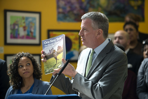 "Mayor Bill de Blasio announces the release of ""One New York: The Plan for a Strong and Just City,"" a comprehensive plan for a sustainable and resilient city for all New Yorkers"