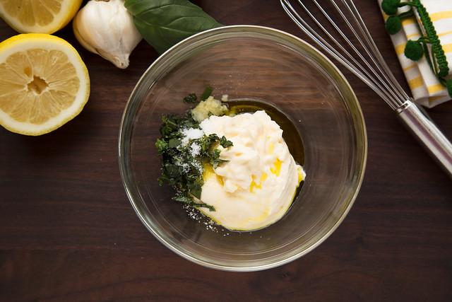 basil mayonnaise ingredients in bowl