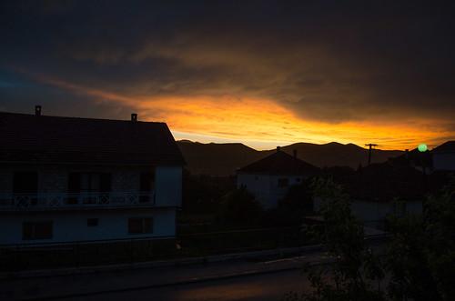 light sky night fire