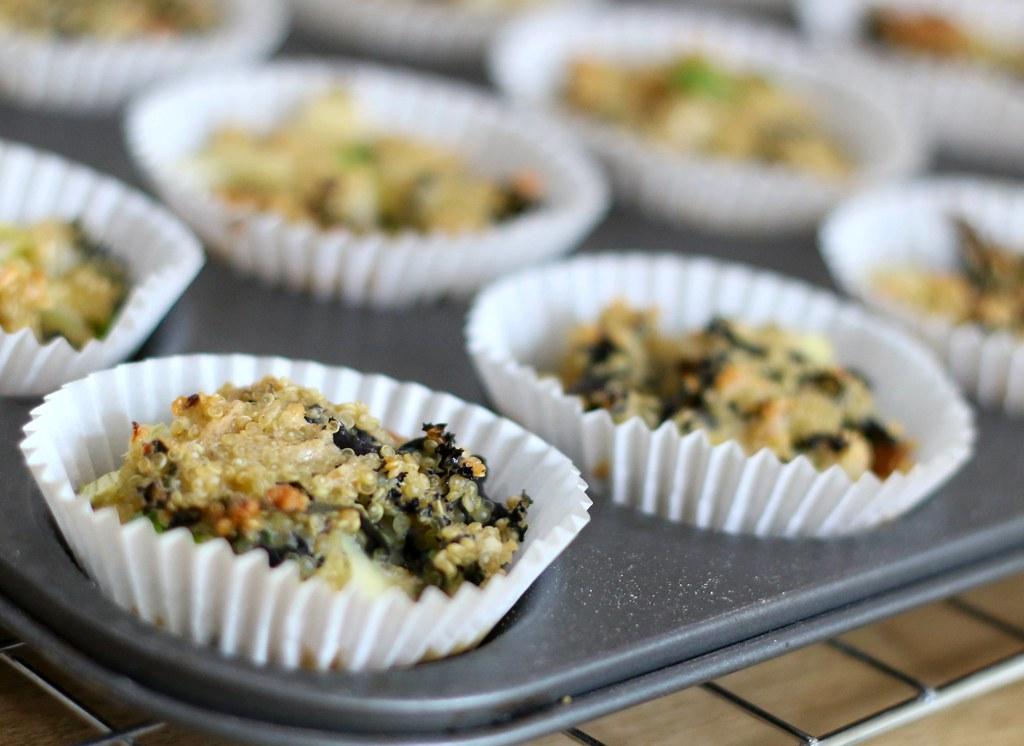 Kale quinoa bites in baking tray