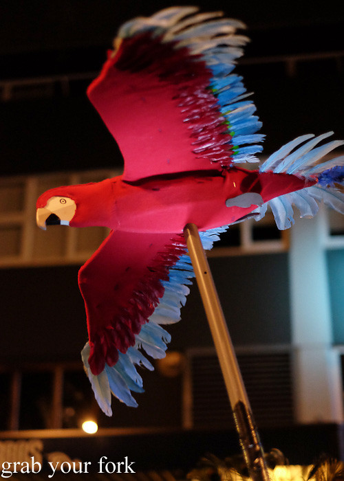 Batucada parade macaw at the Cuba Dupa Festival 2015, Wellington