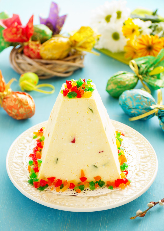 "Traditional Easter dessert made from cottage cheese and candied ""Easter"" on the holiday table."