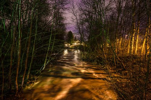 night finland river spring little