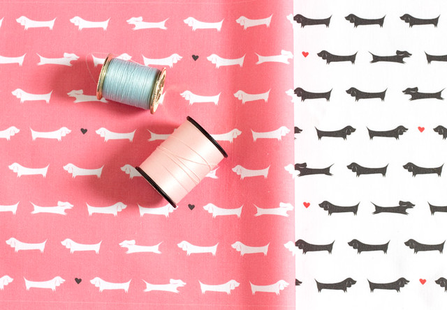 Dachshund Fabric Print by Vitamini - Dachshund Love