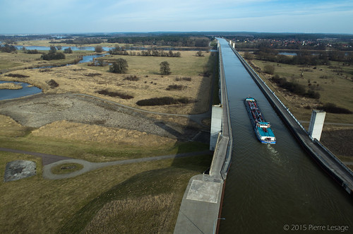Magdeburg Water Bridge seen from a kite