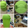 my green robot under construction #motor #servo #arduino #robot #android #trashcan #robotfromscratch