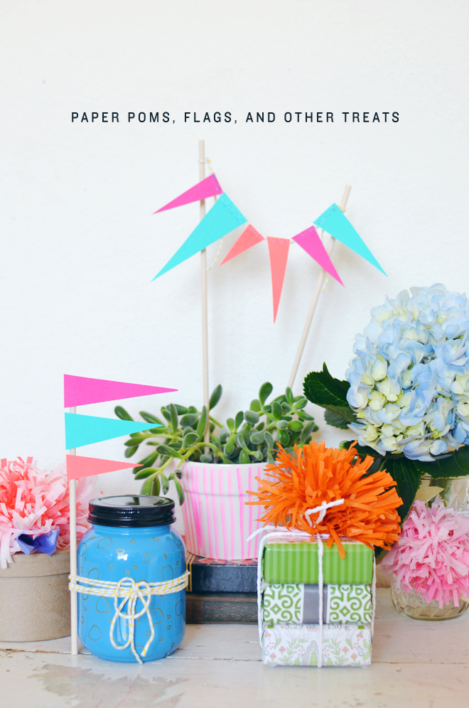 paper poms, flags, and other treats