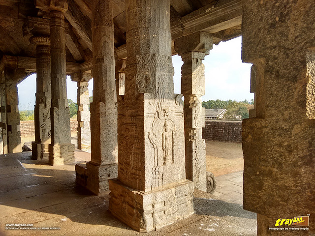 Beautifully carved pillars on the Chaturmukha Basadi in Karkala, the Tribhuvana Tilaka Jina Chaityalaya or Ratnatraya dhama, in Karkala, Udupi district, Karnataka, India