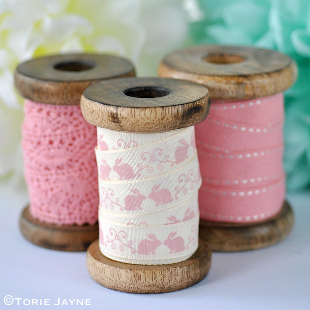 Pretty pink ribbon spools
