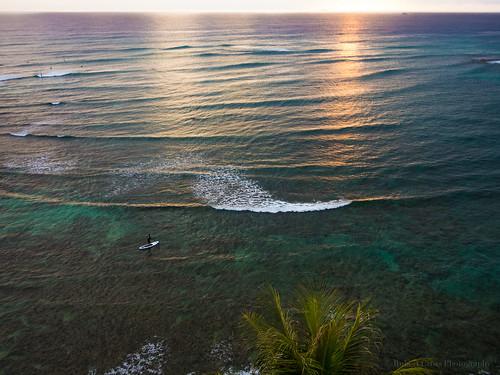 sunset seascape beach island hawaii surf waves waikiki oahu olympus palmtrees pacificocean diamondhead honolulu sup omd em5 standuppaddle standuppaddling 1250mmf3563mzuiko