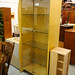 Tall wood and glass display unit