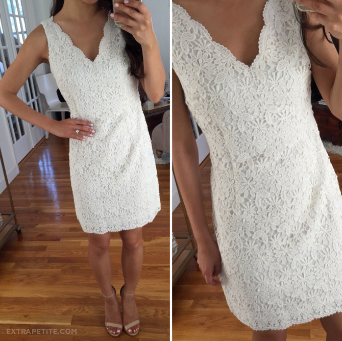 ann taylor white crochet lace dress petite