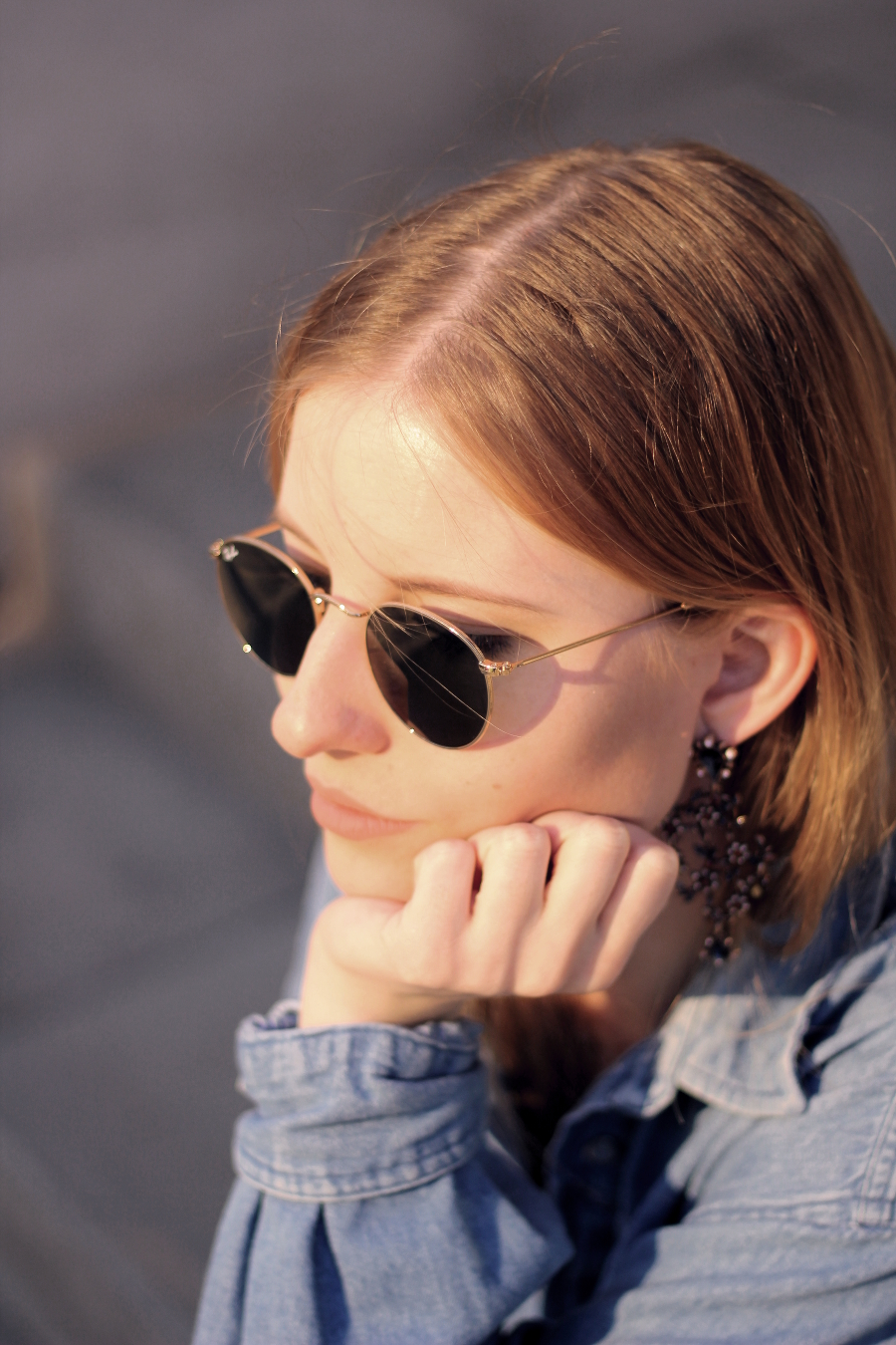 outfit close face ray ban round hippie zara earrings jeans shirt blogger