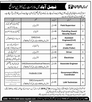 Nayatel Pakistan Jobs 2016