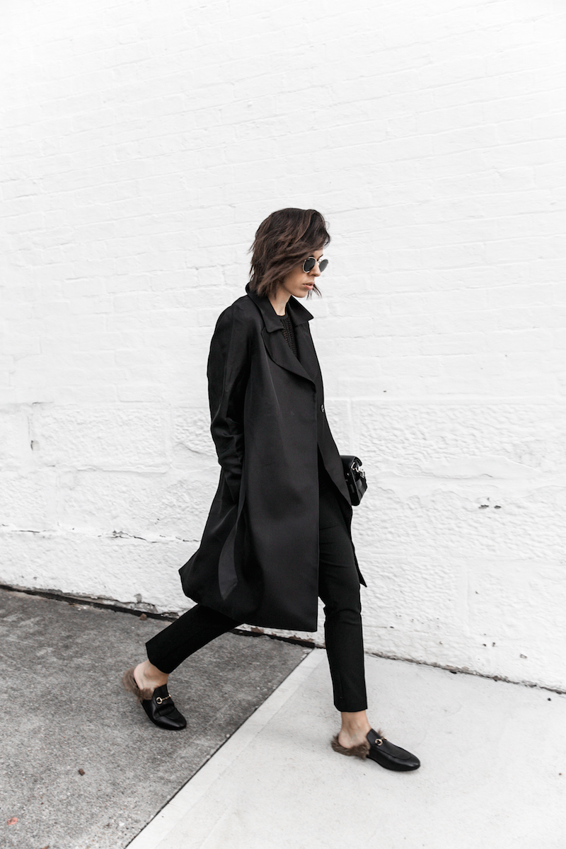 all black reiss modern legacy fashion blogger Gucci Princetown fur loafers Proenza Schouler PS11 mini outfit workwear 90s  (4 of 9)