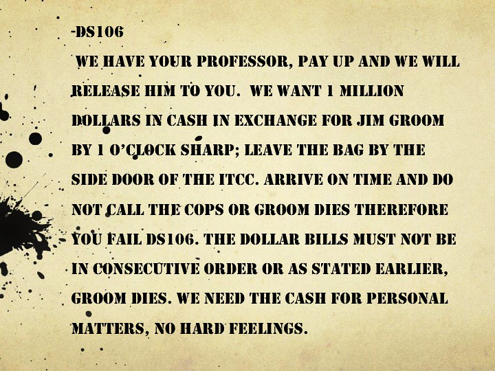 Jim Groom's Ransom Note