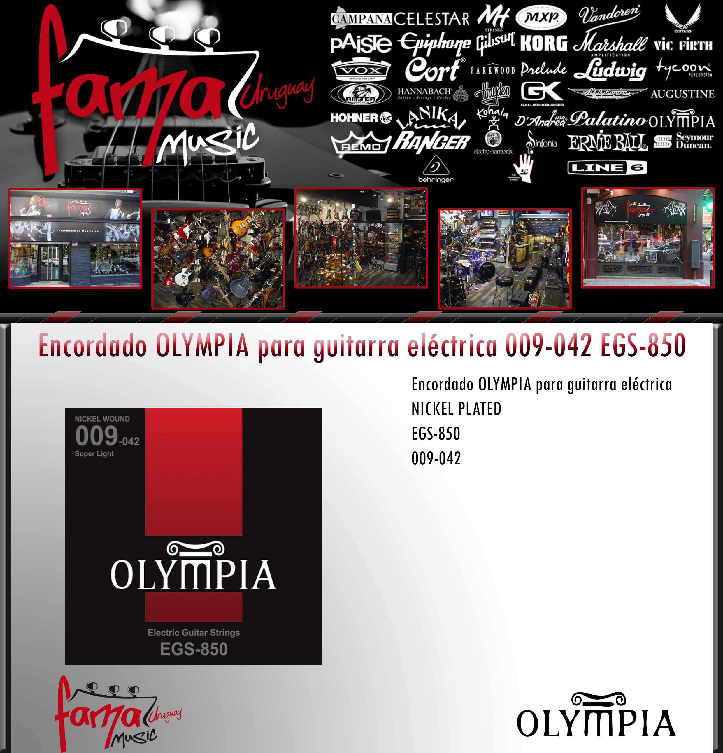 Encordado OLYMPIA para guitarra eléctrica 009-042 EGS-850