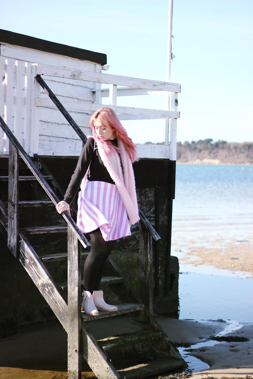 4pink stripe skirt, faux fur backpack