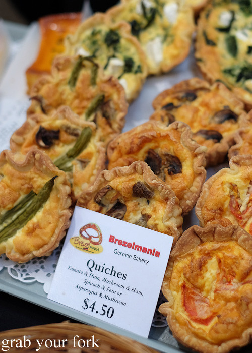 Quiches by Brezelmania German bakery at City Market, Wellington