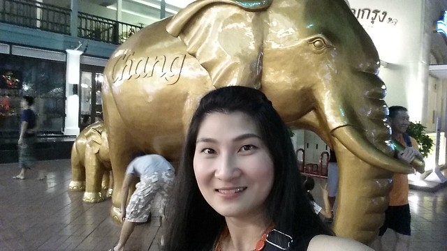 Huge Chang Beer Elephant behind me in Asiatique, Bangkok.
