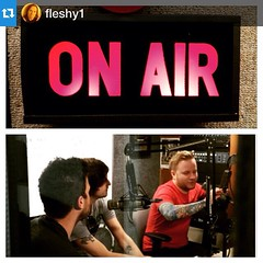 #Repost @fleshy1: The guys on air right now in Flint,MI at 101.5 the Banana. #WWBN #MackMyersMoore #NightsLikeThisTour #JustSouthofMoonlight #MachineShop