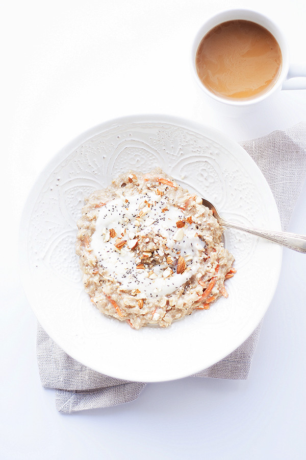 healthy carrot cake oatmeal | heathersfrenchpress.com