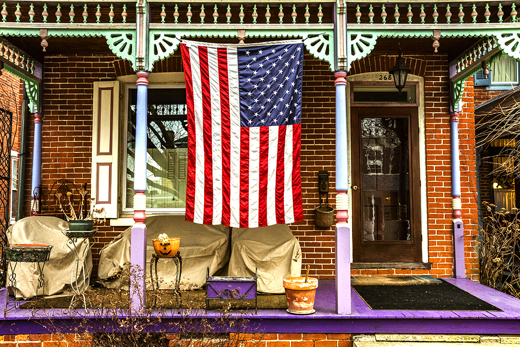 Flag-on-porch-of-house-on-West-Street--Carlisle
