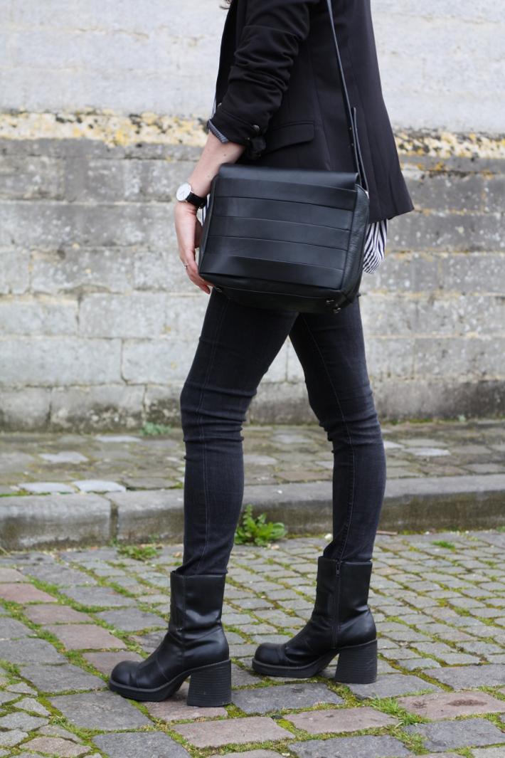 outfit: vintage platform boots, skinny jeans, and other stories handbag