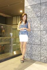Blue sleeveless shirt and White tight miniskirt_8_End