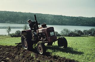 Farmer plowing, Hökvattnet, Jämtland, Sweden