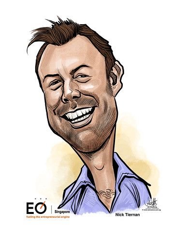 Nick Tiernan digital caricature for EO Singapore