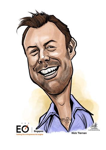 Nick Tiernan digital caricature for EO Singapore