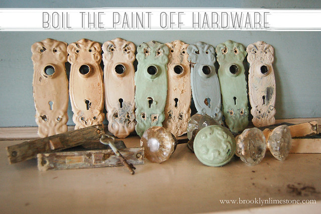 Boiling Paint Off Hardware Doorknobs www.brooklynlimestone.com