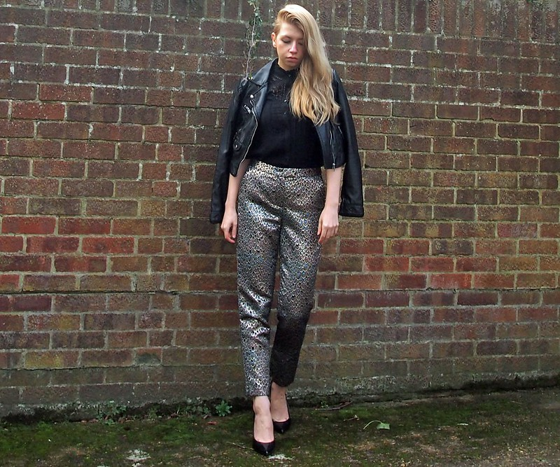 Cocktail Trousers, Pants, Metallic, Jacquard, Peacock, Gold, Cropped, High-Waisted, Peg Leg, F&F, How to Wear, Outfit Ideas, Styling Inspiration, Sam Muses, UK Fashion Blog, London Style Blogger