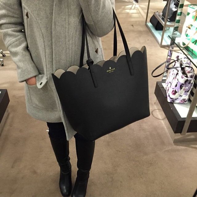 Kate Spade Lily Avenue Carrigan Leather Tote in black/pebble