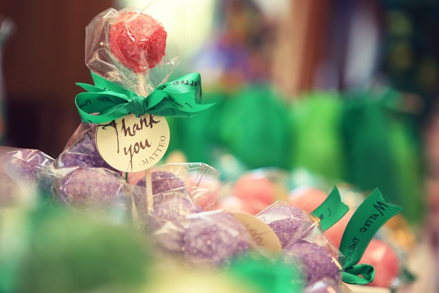 White chocolate candy sprinkle thank you cake pops