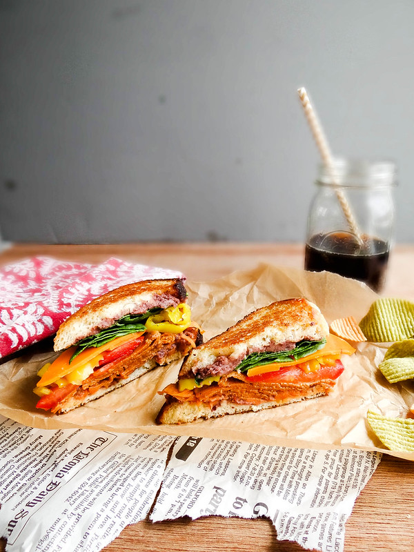 Smokey Tomato Grilled Sammie // Black Bean Spread