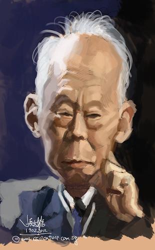 digital caricature of Lee Kuan Yew 1