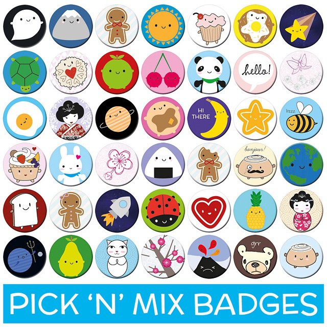Updated my pick 'n' mix badges. You can choose your favourites from these 42 cute characters.